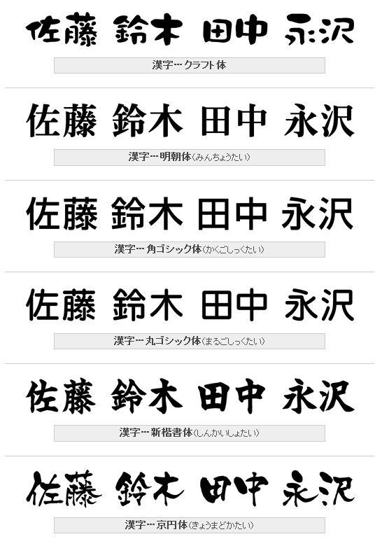表札漢字書体 クラフト体、明朝体,角ゴシック体、丸ゴシック体、新楷書体、京円体(きょうまどか)画像